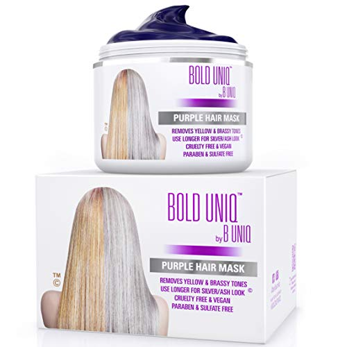 Purple Hair Mask for Blonde, Platinum and Silver Hair: BOLD UNIQ by B Uniq Blue Masque to Reduce Brassiness and Condition Dry, Damaged Hair - Sulfate Free Toner (200 ml)