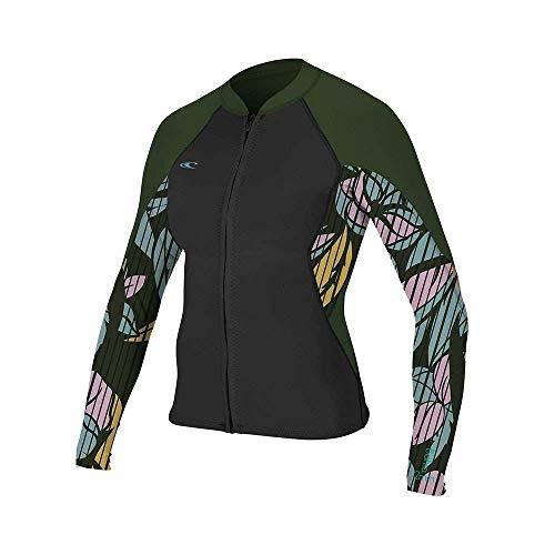 ONeill Womens Bahia 1mm Full Zip Long Sleeve Neoprene Wetsuit Coat Jacket - Black Baylen Dark Olive