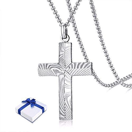 ZSML Jewellery Mens Damascus Steel Cross Anhänger in Silberfarben Moderner und kantiger Männerschmuck mit 24