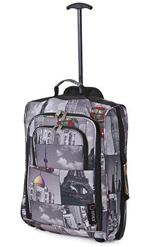 5 Cities Cabin 55x40x20cm Bolsa Trolley Equipaje de Mano adecuadas, 42 litros (Ciudades)