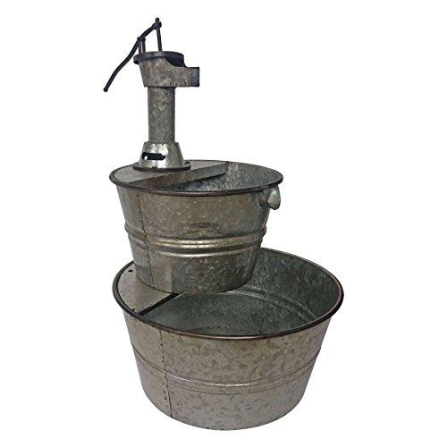 BACKYARD EXPRESSIONS PATIO · HOME · GARDEN 906029 Galvanized Two Tier Metal Barrel Pump Fountain, Silver