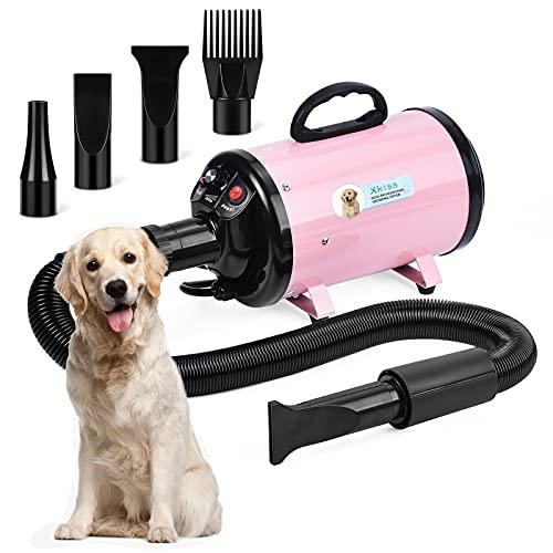 XKISS Hundetrockner 3,2 PS / 2800 W Stufenloser Hundetrockner mit Einstellbarer Geschwindigkeit (Pink)
