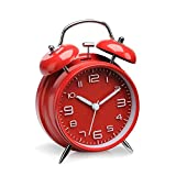 F FINEC Twin Bell Alarm Clock, Loud Mechanical Wind-Up Alarm Clock with Stereoscopic Dial, Nightlight, Non Ticking – Loud Bell Alarm – Glow in Dark Hands – Backlit on Demand – Bat (Red)