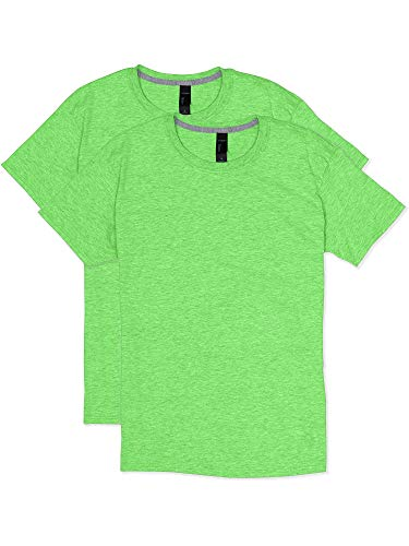 Hanes Men's 2 Pack X-Temp Performance T-Shirt, Neon Lime Heather, Large
