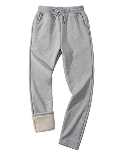 Lentta Men's Winter Active Casual Warm Sherpa Lined Fleece Open Bottom Sweatpant Pant (LightGrey, XXL)