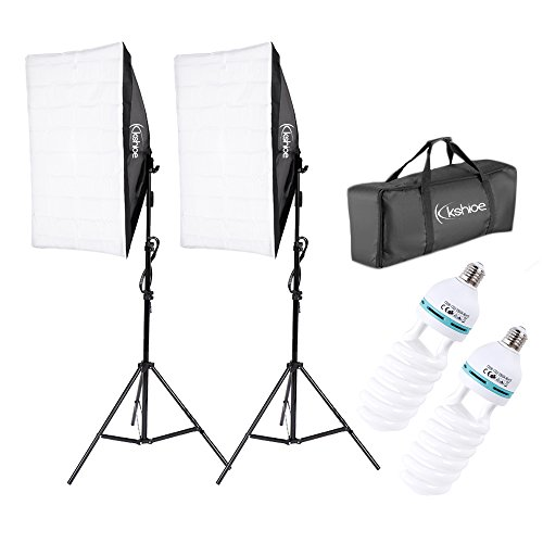 Kshioe Photography Softbox Lighting Kit Continuous Lighting System Photo Equipment Soft Studio Light with Light Stands and Convenient Carry Bag (with 2 softbox Light)