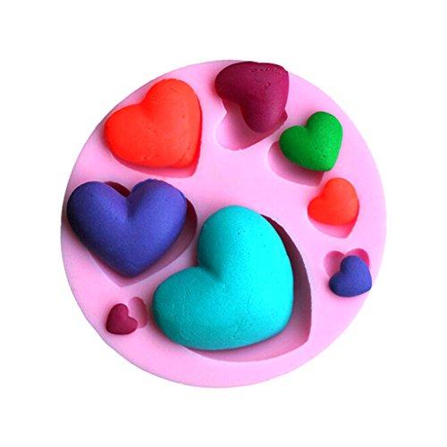 Silicone Fondant Moule à gâteaux Sugarcraft Cuisson Décoration de Moule - Multi-Coeurs