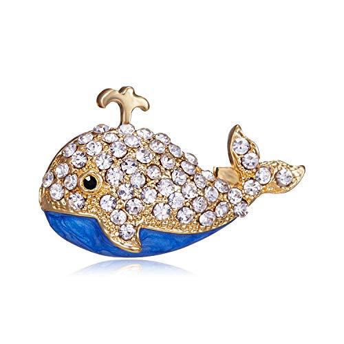 XZFCBH Pequeños broches de Ballena de Diamantes de imitación para Mujeres Lindos esmaltes alfileres de Animales Insignias de Mochila para niños joyería de Moda 2018