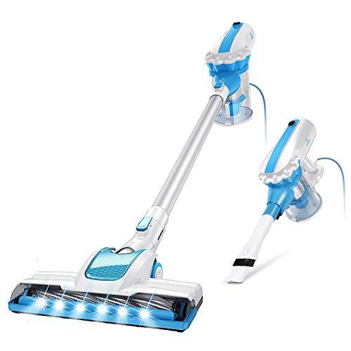 MOOSOO Vacuum Cleaner 2 in 1 Stick Vacuum Cleaner Powerful 17000PA Motorized LED Brush Handheld Vacuum Cleaner, Captures Dusts, Debris, Crumbs, Pet Hairs from HardFloor, Carpet, Ceiling, D601