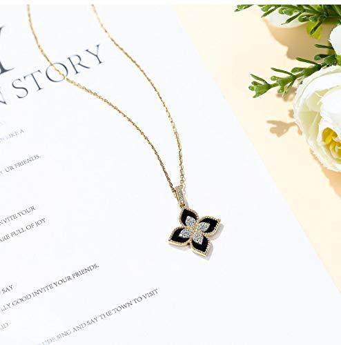 ZYLL New Luxury Gilded 18K Gold Clover Stud Ring Light Luxury Black Agate Small Fresh Bracelet Necklace Girl