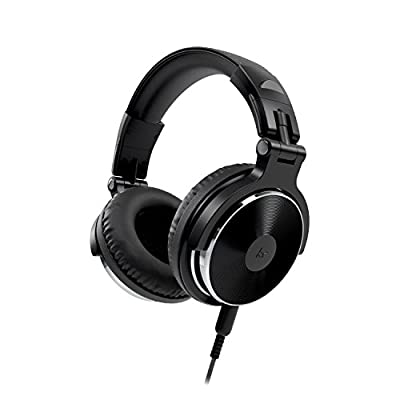 Kitsound KSNDJBK DJ 2 Over Ear Headphones Compact Lightweight Foldable with In Line Microphone Compatible with iPhone, iPad, Samsung and Android Devices - Black from Kitsound