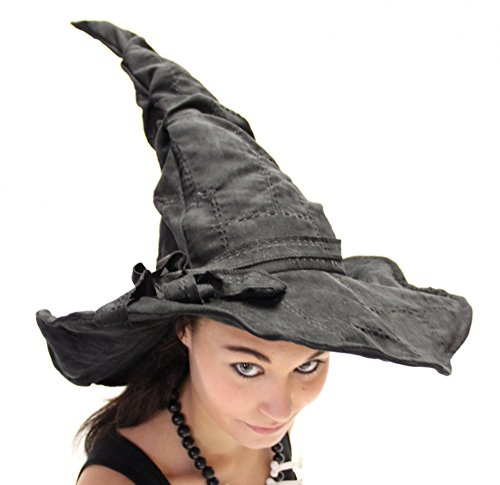 Verformbarer schwarzer Deluxe Hexenhut mit Flicken