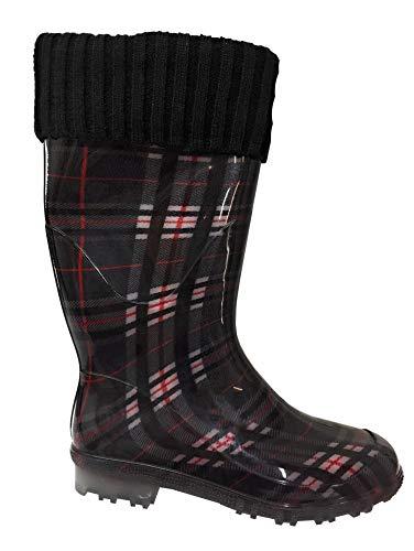 Vista Schuhe Damen Gummistiefel gefüttert schwarz rot kariert mit Strickschaft Gr.36