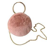 女性イミテーションミンクふわふわファーハンドバッグ オールマッチショルダーメッセンジャーバッグ かわいいラウンドショルダーバッグ ファッション 女の子 (レザーピンク)