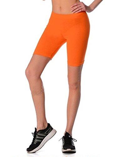 Dykmod Damen Kurze Leggings Shorts Sport Radlerhose mf43, Orange, 42 (XL)