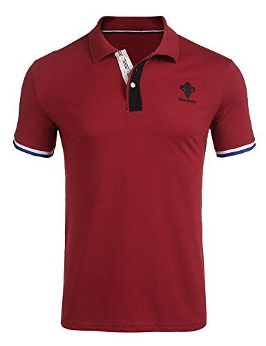 COOFANDY Herren Kurzarm Stehkragen Leinen mit Brusttaschen Sommer Slim Fit Casual Leicht Freizeit Shirts für Männer