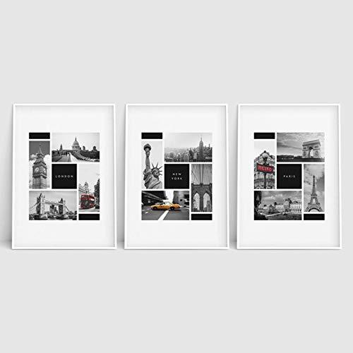 """Photographie Toile Murale Art Montage Impression Repères Mur Art Ville Décoration Murale Londres Paris New York Affiches Noir et Blanc 15.7""""x19.6 (40x50cm) x3pcs sans Cadre"""