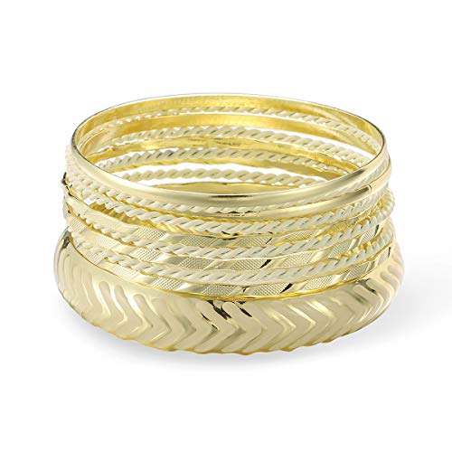 ENSOUL Mixed Multi Metal African Indian Bangles Bracelets Set Jewelry for Women Gold/Ivory(10pcs)