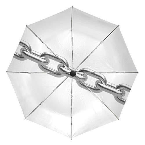 Paraguas de Viaje pequeño a Prueba de Viento al Aire Libre Lluvia Sol UV Auto Compacto 3 Pliegues Cubierta de Paraguas - Cadena de Metal Cromado sin Costuras