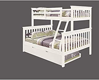 Donco Kids 122-3-TFW-503-W Mission Bunk Bed withTrundle Twin/Full/Twin White