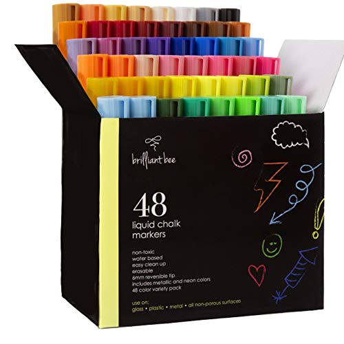 Brilliant Bee - 48 Pack Liquid Chalk Markers - Neon, Metallic, and White Included