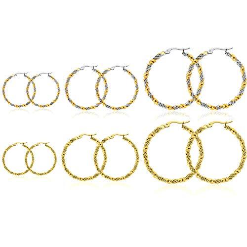 KnSam Pendientes de oro para hombre, pendientes de aro grandes redondos, de acero inoxidable, joyas para mujer, plata y oro.