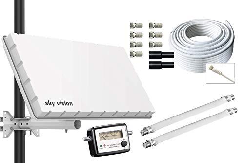 sky vision Flat Twin LNB Satelliten Flachantenne für 2 Teilnehmer inkl. Wand- + Masthalterung + SATFINDER + 20m Kabel + Zubehör. Camping Set. Beste Empfangswerte für HD, Full HD, 4K UHD, 8K TV