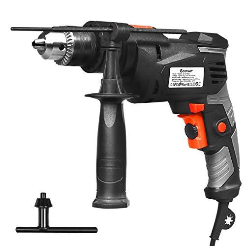 COSTWAY 2 in 1 Schlagbohrmaschine Bohrhammer Elektrische Bohrmaschine zum Bohren von Holz, Metall, Ziegeln / 810W / 0–3000 RPM /1,5-13 mm Bohrfutter