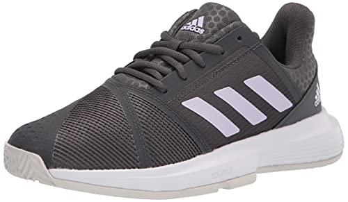 adidas Women's Courtjam Bounce Tennis Shoe, Grey/Purple Tint/White, 5
