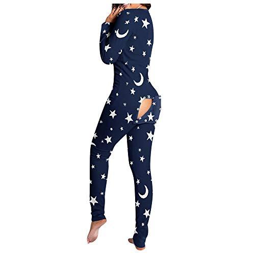Pijamas con Solapa Abotonada para Mujer, Mono de una Pieza para Adultos, Pijamas con Botones Delanteros para el hogar, Pijamas para Dormir, Mono