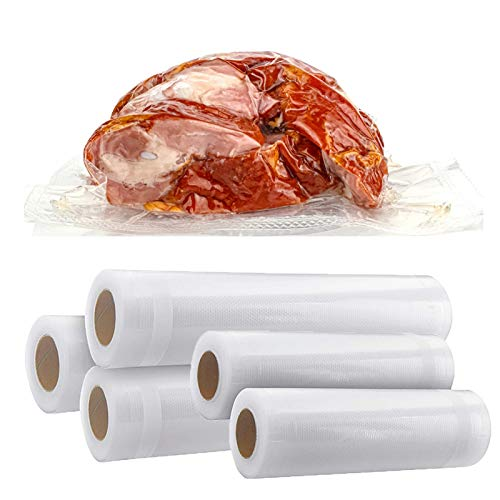 """Vacuum Sealer Bags Rolls 2 Rolls 8""""x 165 and 3 Rolls 11""""x 165 with Commercial GradeBPA FreeHeavy DutyGreat for Food Vac Storage or Sous Vide Cooking 2 Pack 8""""x 165 and 3 Pack 11""""x 165"""