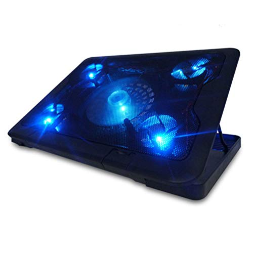 Luces IUML apoyo Powered USB Laptop Cooling Pad portátil Fan Cooler Pad Chill Mat con 5 ventiladores silenciosos LED; frac14; circ; Blackiuml; frac14; permil; ZHNGHENG
