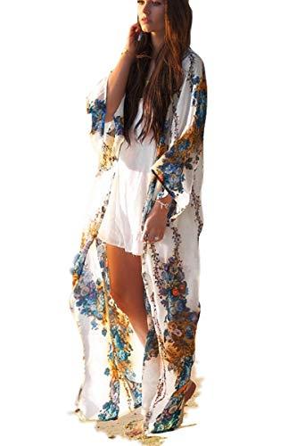 Kimono Cardigan Womens Beach Blouses Loose Kimono Open Front Floral Print Cardigan Beachwear Dress (209)