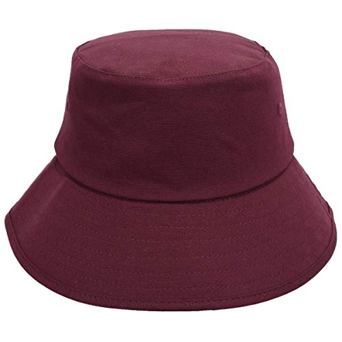 KYEYGWO UV Protection Sun Hat for Men and Women, Plain Cotton Fishing Hat, Breathable Neutral Bucket Hat, Leisure Outdoor Hat for Climbing, Camping, Beach Travel - Red - One size