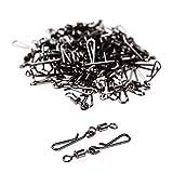 Alvivi 50 Stück Angelwirbel Angeln Drehgelenk Edelstahl 6# 8# Angeln Karabinerwirbel für Outdoor-Angeln Schwarz 50 Stück 6# Einheitsgröße