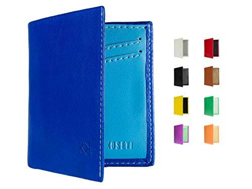 KOSETI - Cartera Hombre Azul | Regalo para Hombre | para Cualquier ocasión | 9 Colores Disponibles | Premium | 12 Tarjetas | Protección RFID y NFC | Hecha a Mano en España