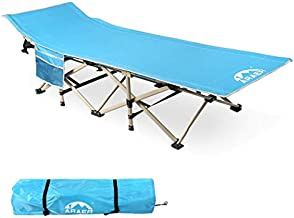 ARAER Camping Cot 450LBS (Max Load) Portable Foldable Outdoor Bed with Carry Bag for Adults Kids, Heavy Duty Cot for Traveling Gear Supplier, Office Nap, Beach Vocation and Home Lounging
