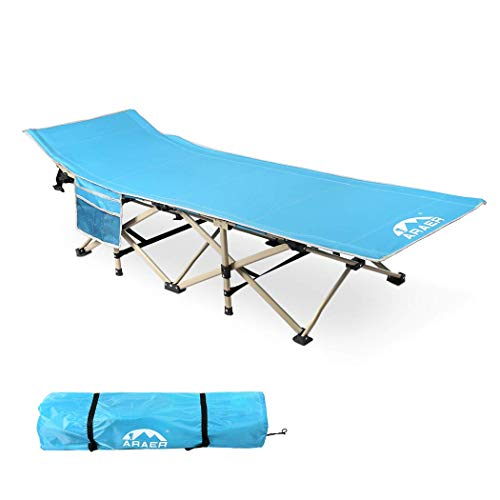ARAER Camping Cot, 450LBS(Max Load), Portable Foldable Outdoor Bed with Carry Bag for Adults Kids, Heavy Duty Cot for Traveling Gear Supplier, Office Nap, Beach Vocation and Home Lounging