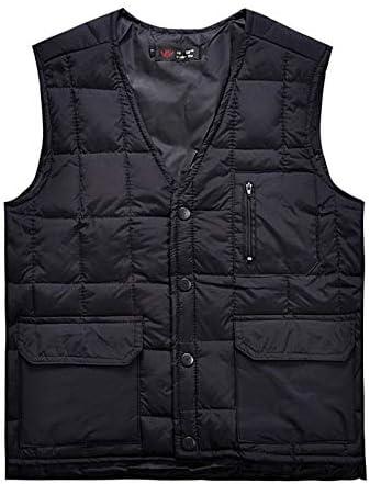 LYLY Vest Women Men Vest Autumn Winter Down Vest Men Thermal Multi Pocket Waistcoat White Ultralight Sleeveless Jacket Stand Collar Vest Warm (Color : Dark Blue, Size : 5XL)