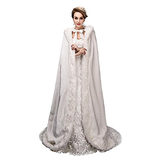 Noriviiq Winter Womens Foor Length Ivory Faux Fur Wedding Cloak With Hood For Bridal Wraps Cape