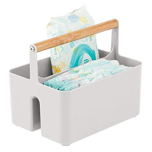 mDesign - Opbergbox voor de babykamer - organizer/mandje - voor luiers, flessen, slabbetjes, lotion en meer - draagbaar - steen/natuurlijk