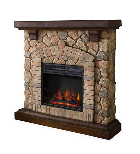 Stacked Stone Free Standing Electric Fireplace