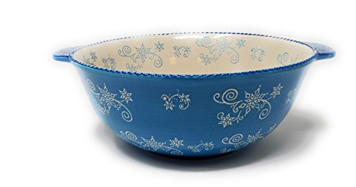 Temp-tations Mixing or Serving Bowl, 3 Qt w/ Tab Handles & Plastic Cover, Replacement (Floral Lace Winter)