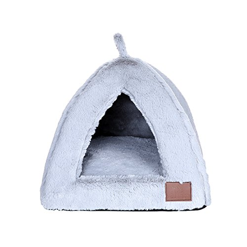 Miss Meow Cat Dog Pet Bed Tent Triangle Removable Cushion Cover Two Way Conversion Medium Light Gray 15'x15'x15'
