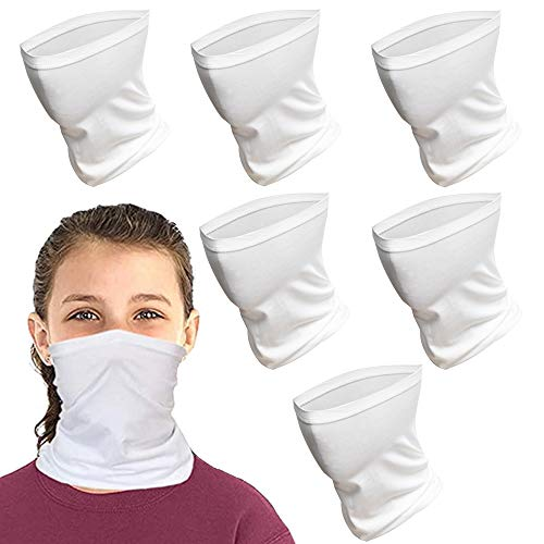 Kids Face Scarf Mask, 6-14 Years Kids Cooling Neck Gaiter Scarf, Breathable Bandana Face Mask for Boys Girls,6 PACK,Washable (White)