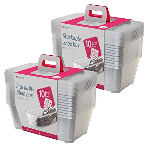 Life Story 5.7 L Clear Shoe & Closet Storage Box Stacking Container, 20 Boxes