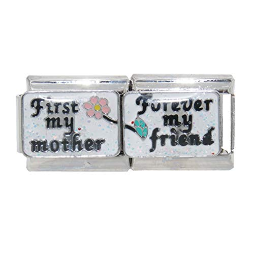 First My Mother Forever My Friend Double 9mm Italian Charm fits Zoppini, Talexia and Classic Italian Charm Bracelets