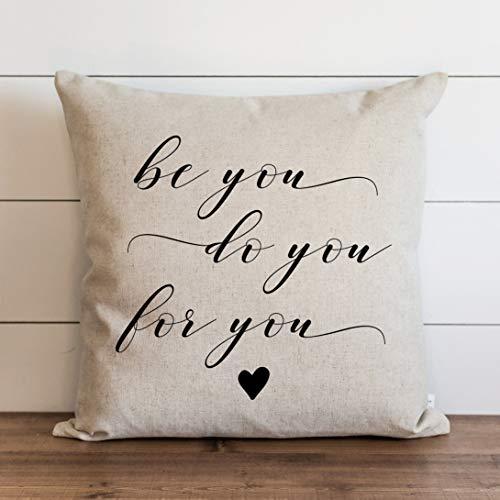 Be You Funda de almohada para el día a día, funda de cojín con cierre de cremallera oculto, para sofá, banco, cama, decoración del hogar, 60,6 x 60,6 cm