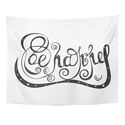 Decor Wall Tapestry Celebration Be Happy Phrase Curls Swirls For Congratulation Quote Black and White Lettering Clip 60 X 50 Inches Wall Hanging Picnic For Bedroom Living Room Dorm 60x40in(100x150cm)