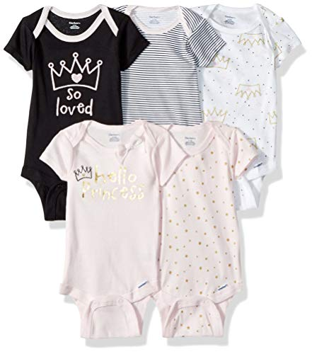 GERBER Baby Girls' 5-Pack Variety Onesies Bodysuits, Princess Crown, 0-3 Months